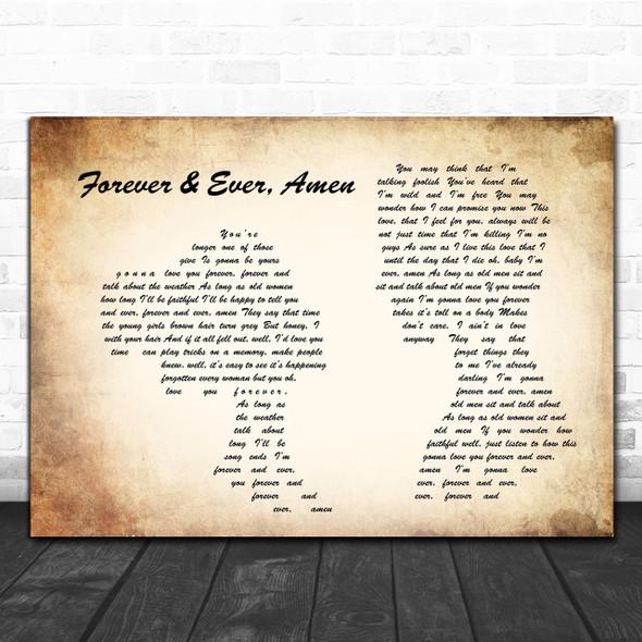 Randy Travis Forever & Ever, Amen Man Lady Couple Song Lyric Music Wall Art Print