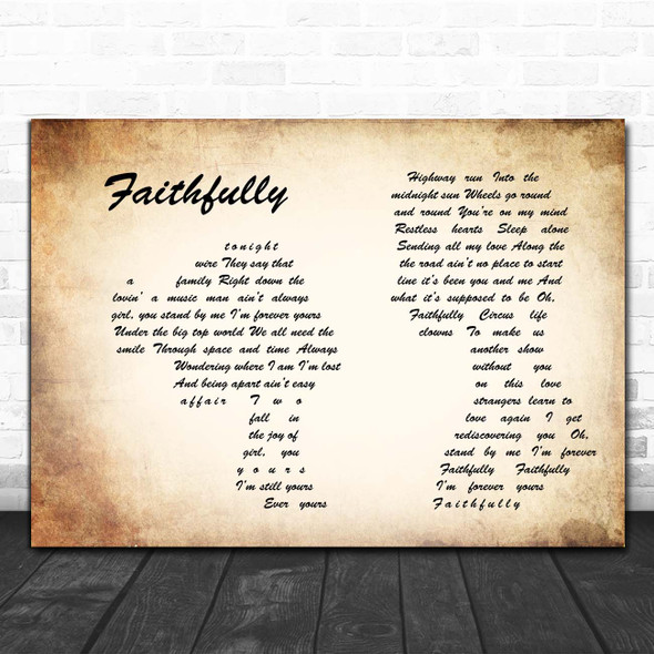 Journey Faithfully Man Lady Couple Song Lyric Print