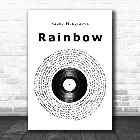 Kacey Musgraves Rainbow Vinyl Record Song Lyric Print