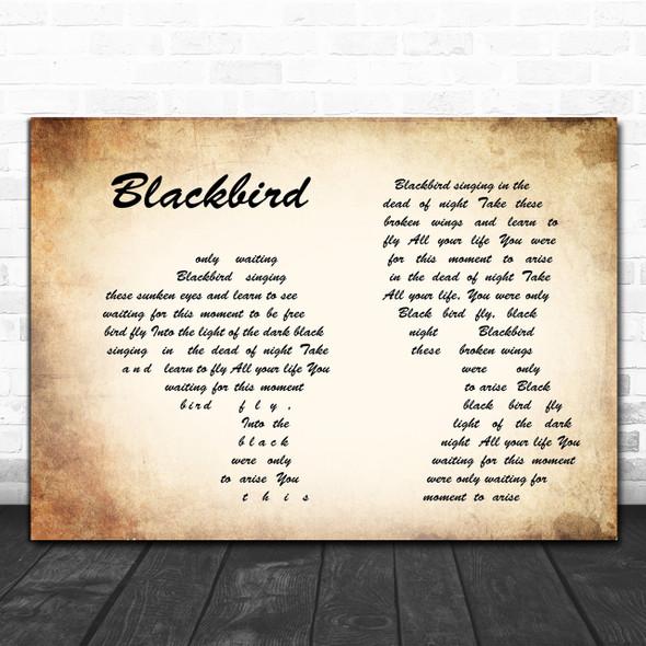 The Beatles Blackbird Man Lady Couple Song Lyric Music Wall Art Print