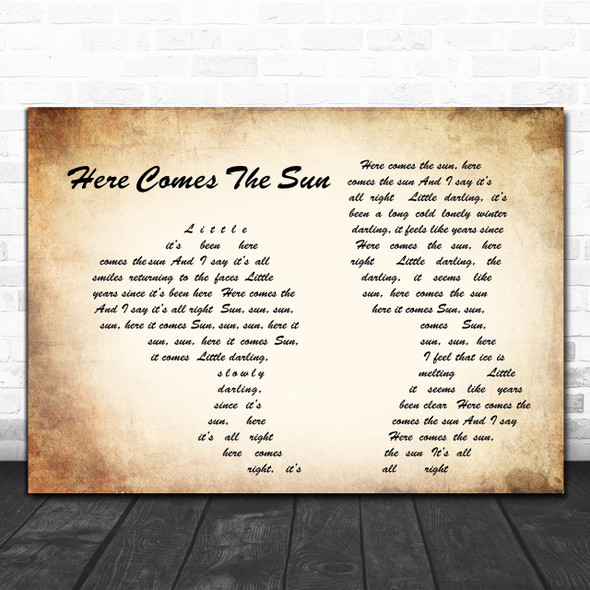 The Beatles Here Comes The Sun Man Lady Couple Song Lyric Music Wall Art Print