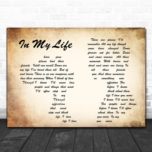 The Beatles In my life Man Lady Couple Song Lyric Music Wall Art Print