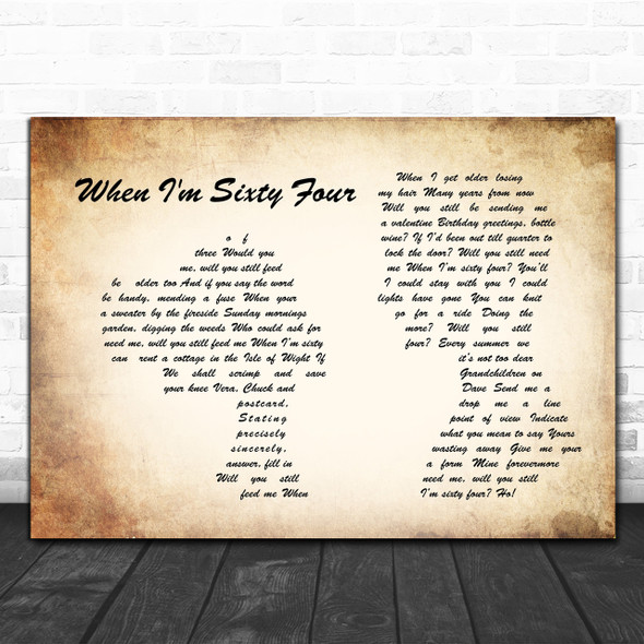 The Beatles When I'm Sixty Four Man Lady Couple Song Lyric Music Wall Art Print