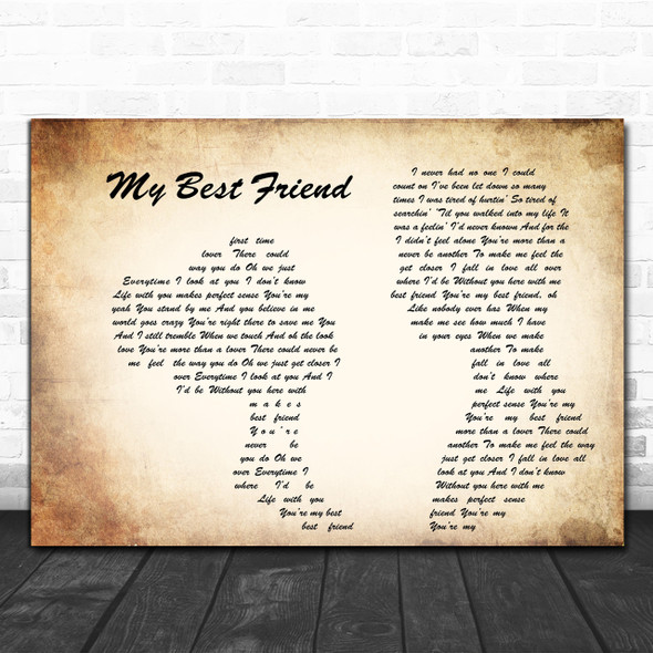 Tim McGraw My Best Friend Man Lady Couple Song Lyric Music Wall Art Print