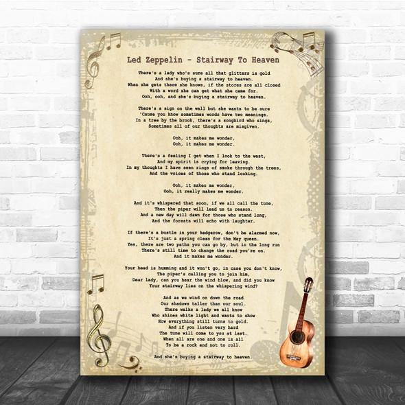 Led Zeppelin Stairway To Heaven Vintage Guitar Song Lyric Print