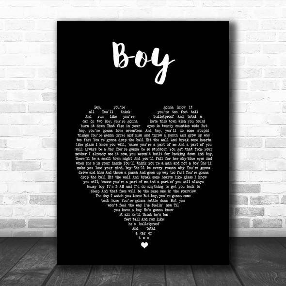 Lee Brice Boy Black Heart Song Lyric Print