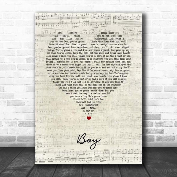 Lee Brice Boy Script Heart Song Lyric Print