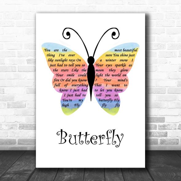 Lenny Kravitz Butterfly Rainbow Butterfly Song Lyric Print