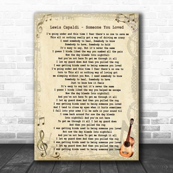 Lewis Capaldi Someone You Loved Vintage Guitar Song Lyric Print