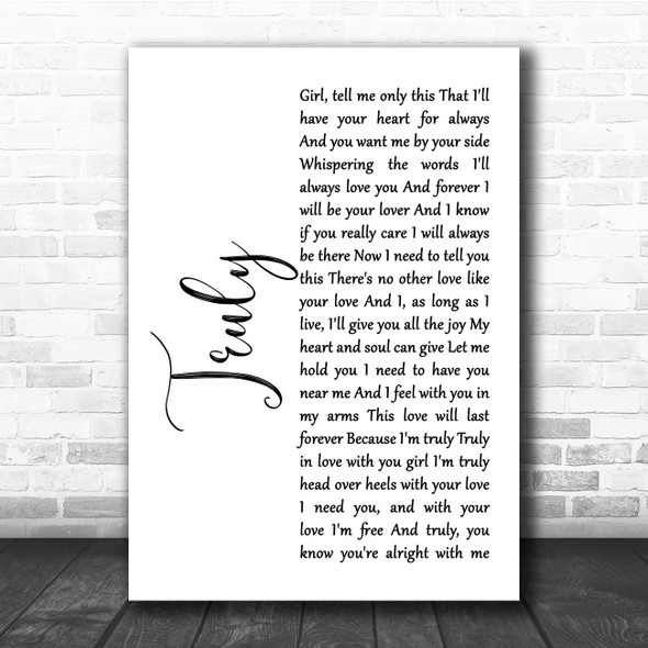 Lionel Richie Truly White Script Song Lyric Print