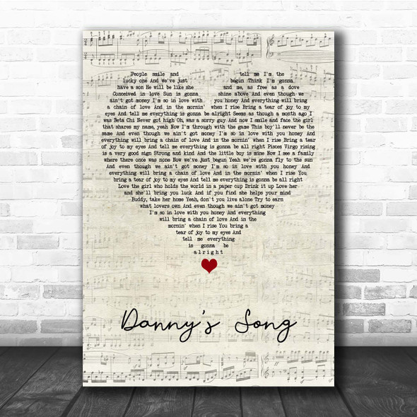 Loggins and Messina Danny's Song Script Heart Song Lyric Print