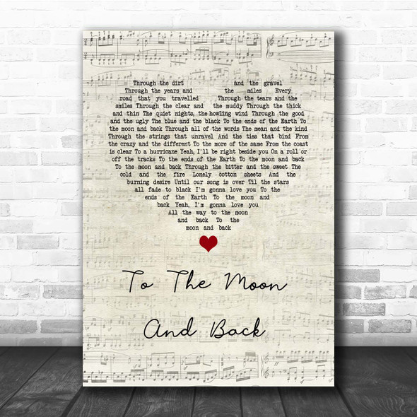 Luke Bryan To The Moon And Back Script Heart Song Lyric Print