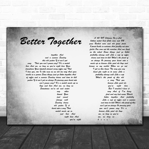 Luke Combs Better Together Man Lady Couple Grey Song Lyric Print