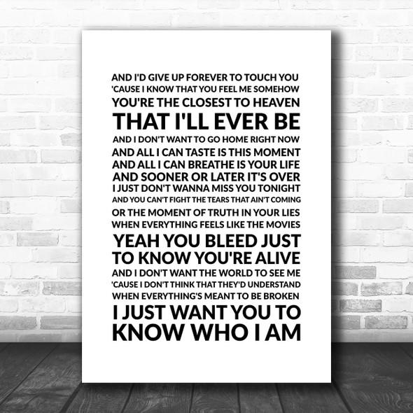 Goo Goo Dolls Iris Song Lyric Music Wall Art Print