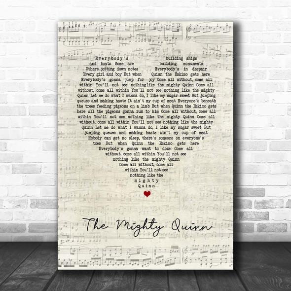Manfred Mann's Earth Band The Mighty Quinn Script Heart Song Lyric Print
