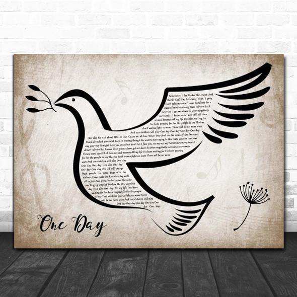 Matisyahu One Day Vintage Dove Bird Song Lyric Print