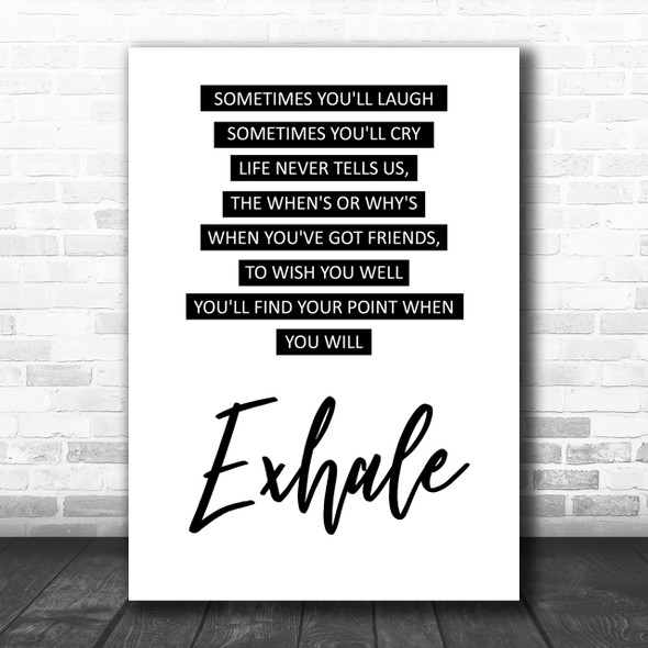 Whitney Houston Exhale Friends Song Lyric Music Wall Art Print