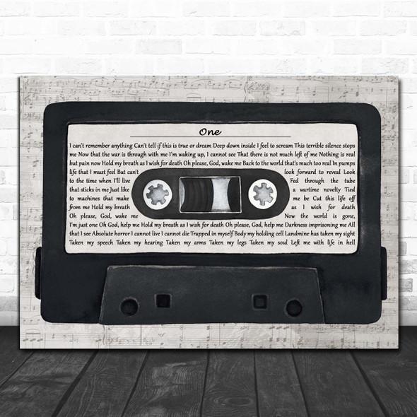 Metallica One Music Script Cassette Tape Song Lyric Print