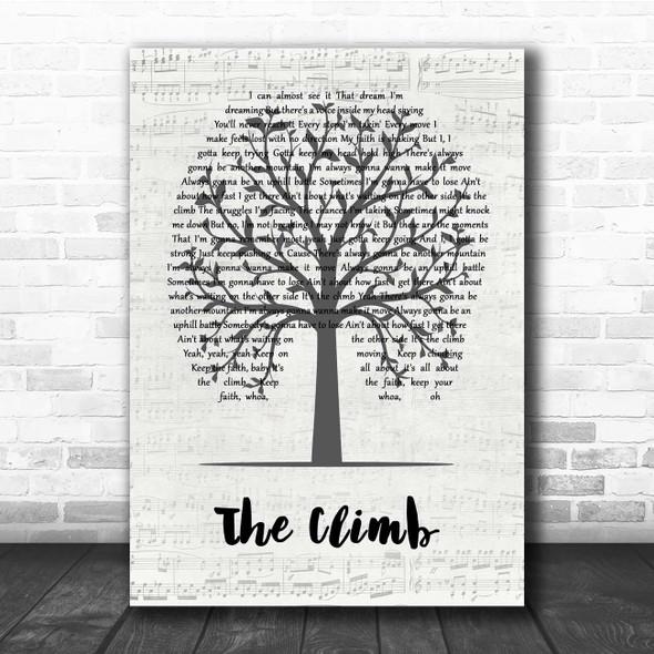 Miley Cyrus The Climb Music Script Tree Song Lyric Print