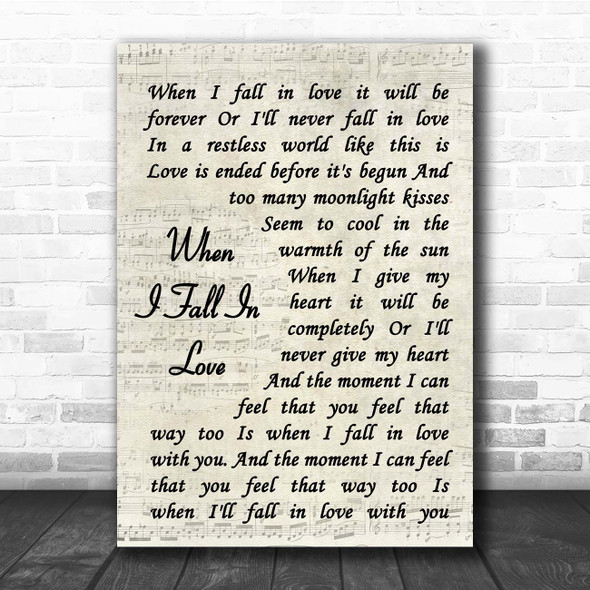 Nat King Cole When I Fall In Love Vintage Script Song Lyric Print