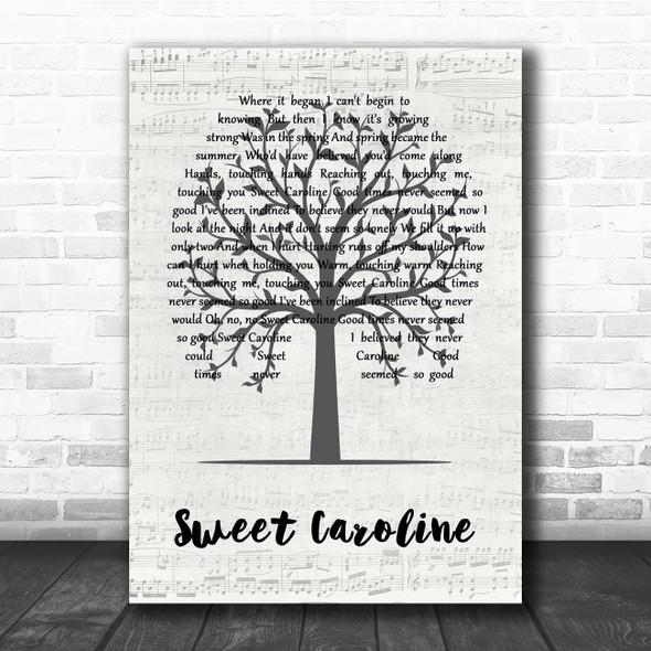 Neil Diamond Sweet Caroline Music Script Tree Song Lyric Print