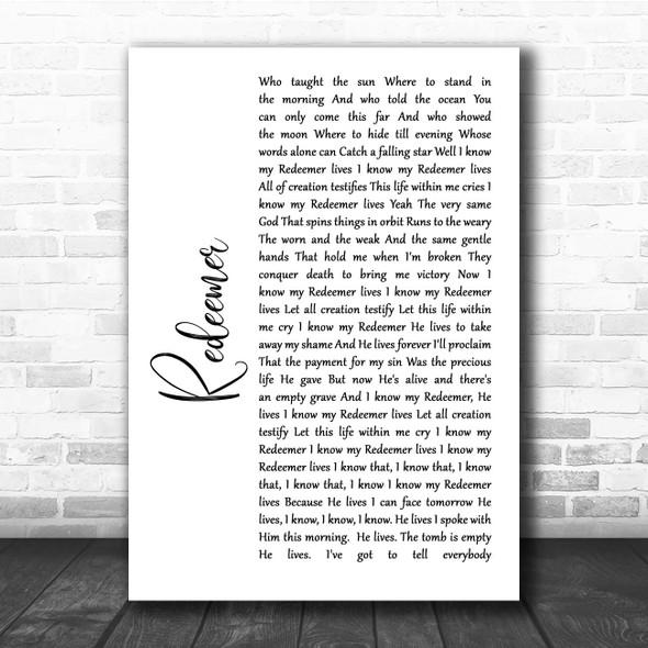 Nicole C Mullen Redeemer White Script Song Lyric Print