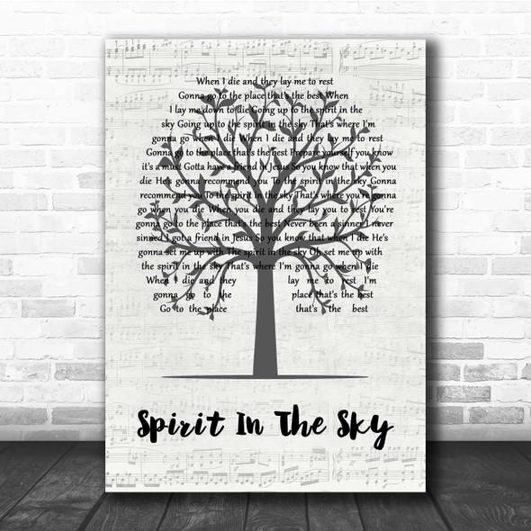 Norman Greenbaum Spirit In The Sky Music Script Tree Song Lyric Print