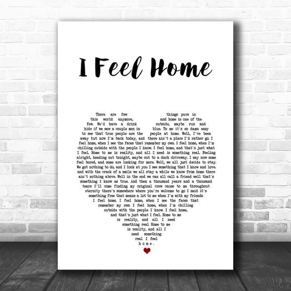 O.A.R. I Feel Home White Heart Song Lyric Print