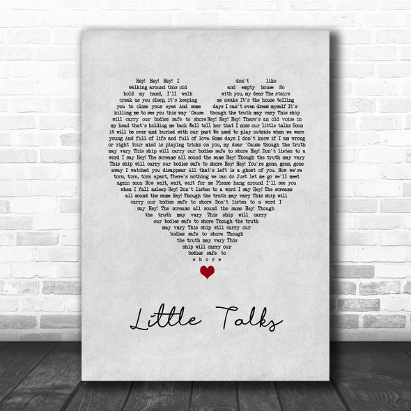 Of Monsters And Men Little Talks Grey Heart Song Lyric Print