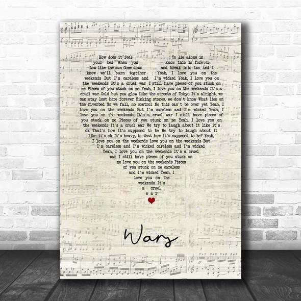 Of Monsters And Men Wars Script Heart Song Lyric Print