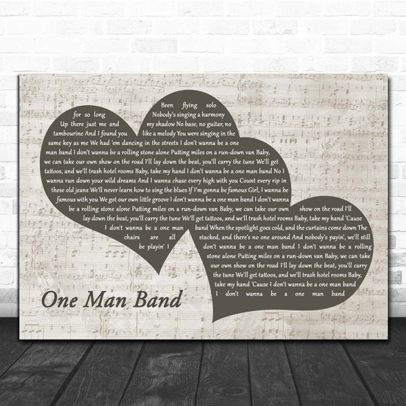 Old Dominion One Man Band Landscape Music Script Two Hearts Song Lyric Print