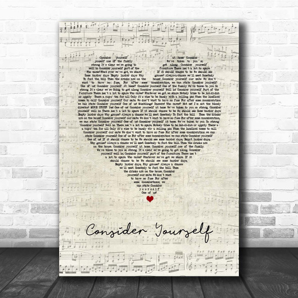 Oliver The Musical Consider Yourself Script Heart Song Lyric Print