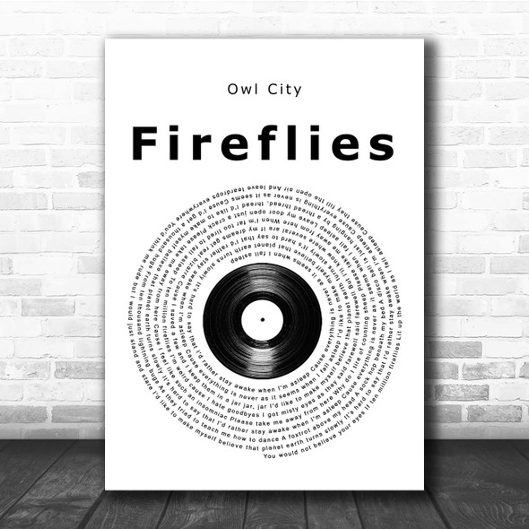 Owl City Fireflies Vinyl Record Song Lyric Print