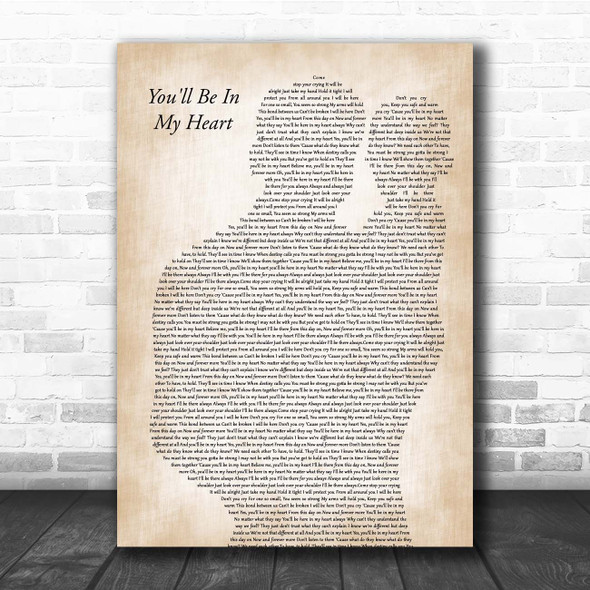 Phil Collins You'll Be In My Heart Father & Baby Song Lyric Print