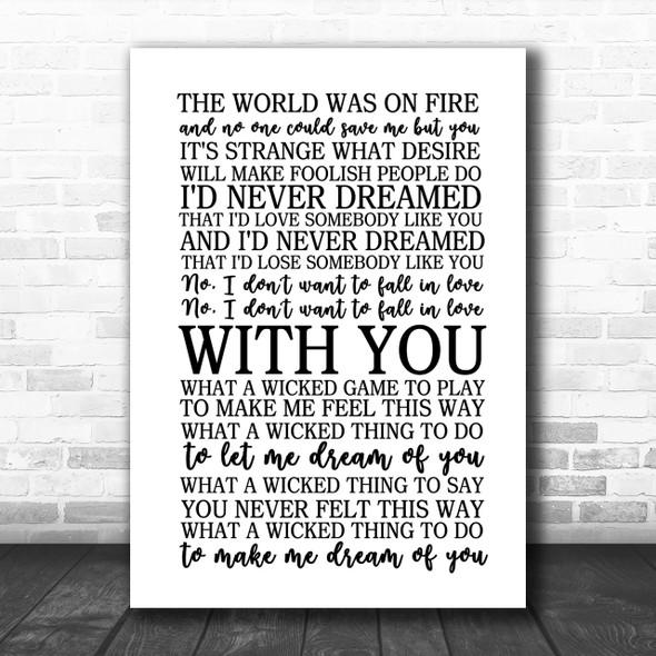 Chris Isaak Wicked Game Song Lyric Music Wall Art Print