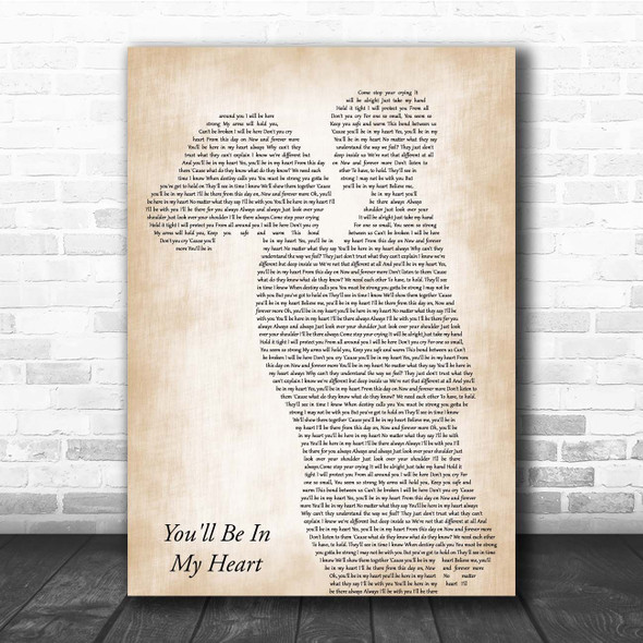 Phil Collins You'll Be In My Heart Mother & Child Song Lyric Print
