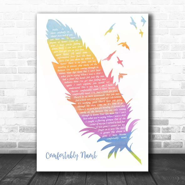 Pink Floyd Comfortably Numb Watercolour Feather & Birds Song Lyric Print