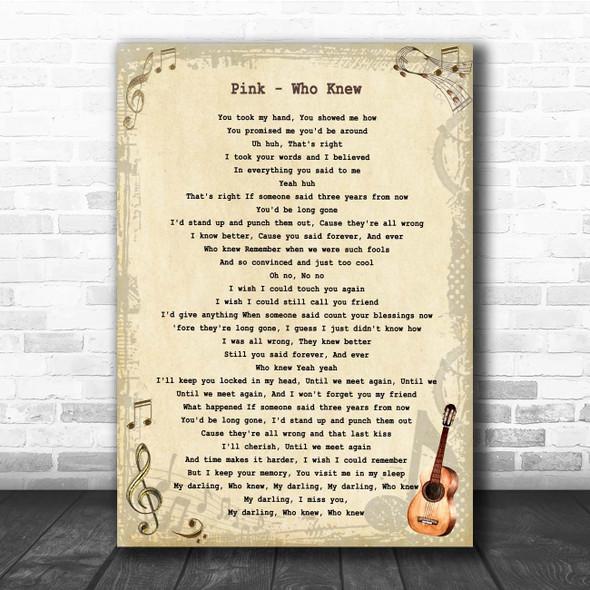 Pink Who Knew Vintage Guitar Song Lyric Print