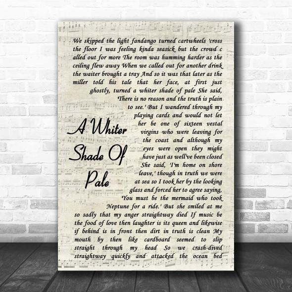 Procol Harum A Whiter Shade Of Pale Vintage Script Song Lyric Print