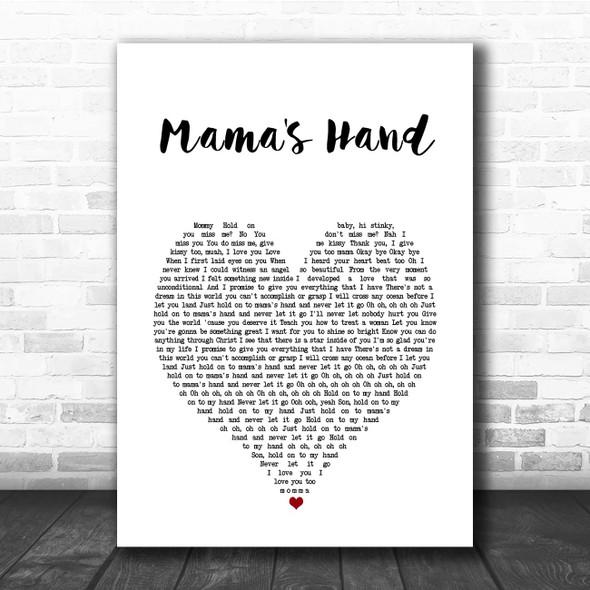 Queen Naija Mama's Hand White Heart Song Lyric Print