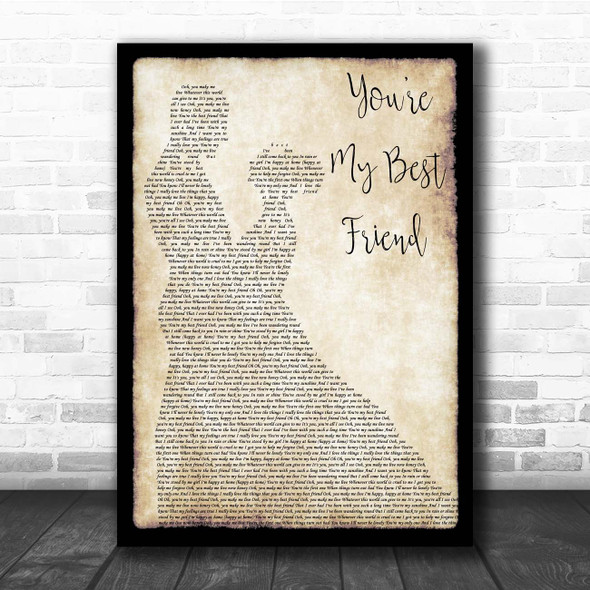 Queen You're My Best Friend Man Lady Dancing Song Lyric Print