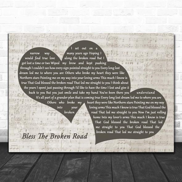 Rascal Flatts Bless The Broken Road Landscape Music Script Two Hearts Song Lyric Print
