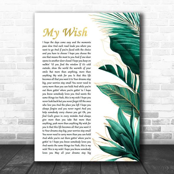 Rascal Flatts My Wish Gold Green Botanical Leaves Side Script Song Lyric Print