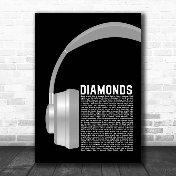 Rihanna Diamonds Grey Headphones Song Lyric Print