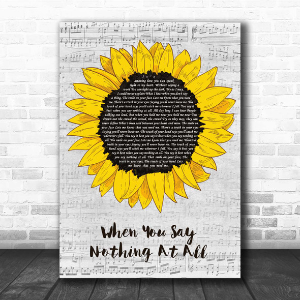 Ronan Keating When You Say Nothing At All Grey Script Sunflower Song Lyric Print