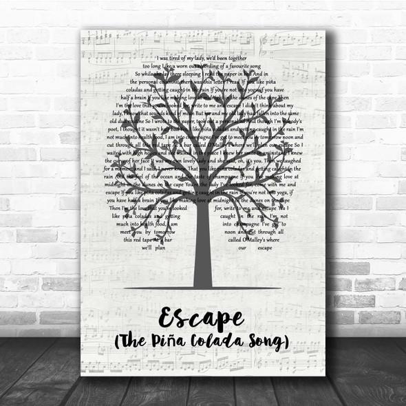Rupert Holmes Escape (The Piña Colada Song) Music Script Tree Song Lyric Print