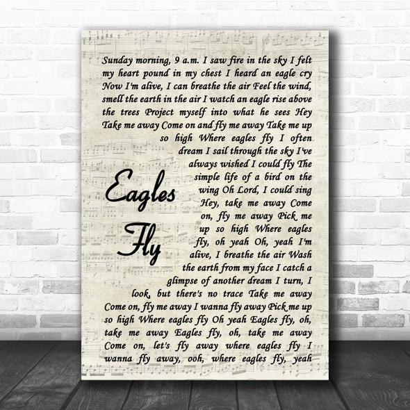 Sammy Hagar Eagles Fly Vintage Script Song Lyric Print