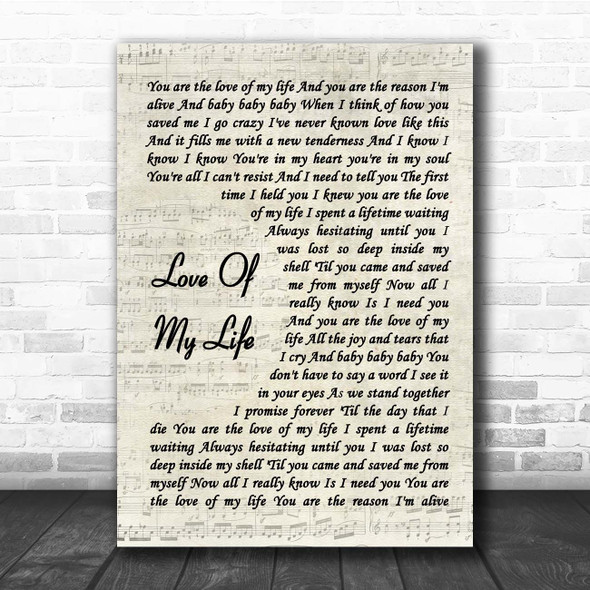 Sammy Kershaw Love Of My Life Vintage Script Song Lyric Print