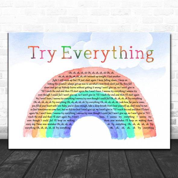 Shakira Try Everything from Zootopia Watercolour Rainbow & Clouds Song Lyric Print