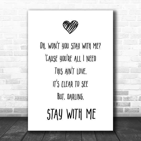 Sam Smith Stay With Me Song Lyric Music Wall Art Print